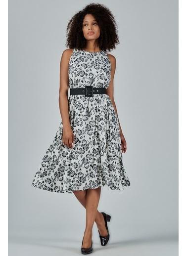 JEANNE D'ARC Çiçek Desenli Kemerli Kolsuz Elbise JE54539 Siyah